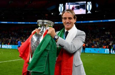 Mancini becomes emotional after victory.