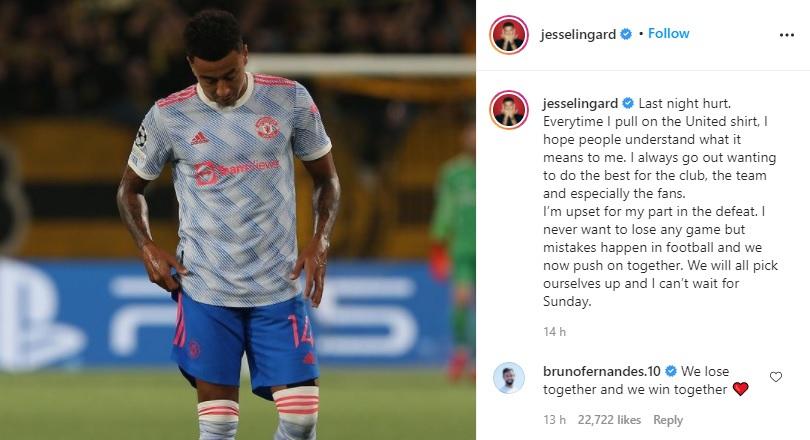 Lingard reveal regret on Instagram post.